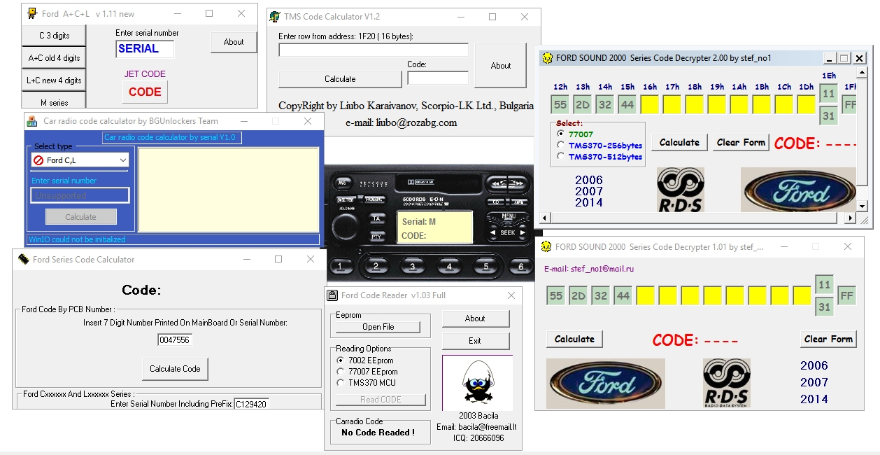 Ford radio code calculators