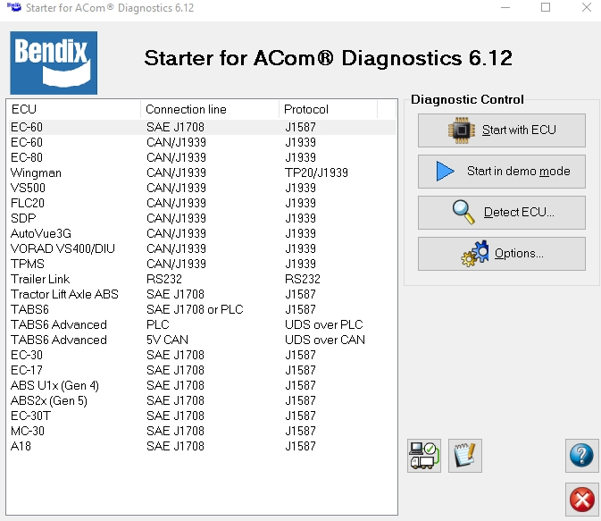 BENDIX ACOM 6.12.2.2  Diagnostics